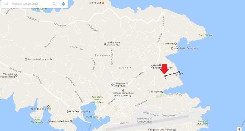 Villetta Cala Creta Lampedusa Mappa